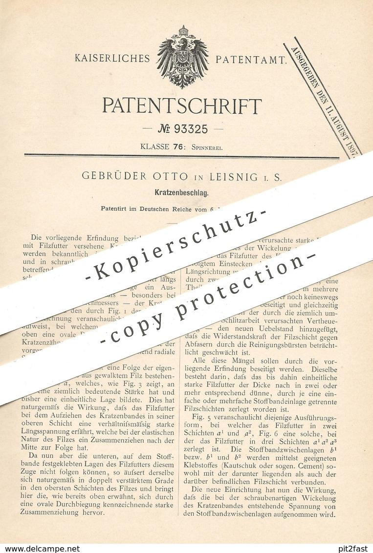 Original Patent - Gebr. Otto , Leisnig / Leipzig , 1896 , Kratzenbeschlag | Kratzen , Walze , Spinnmaschine , Spinnen !! - Historische Dokumente