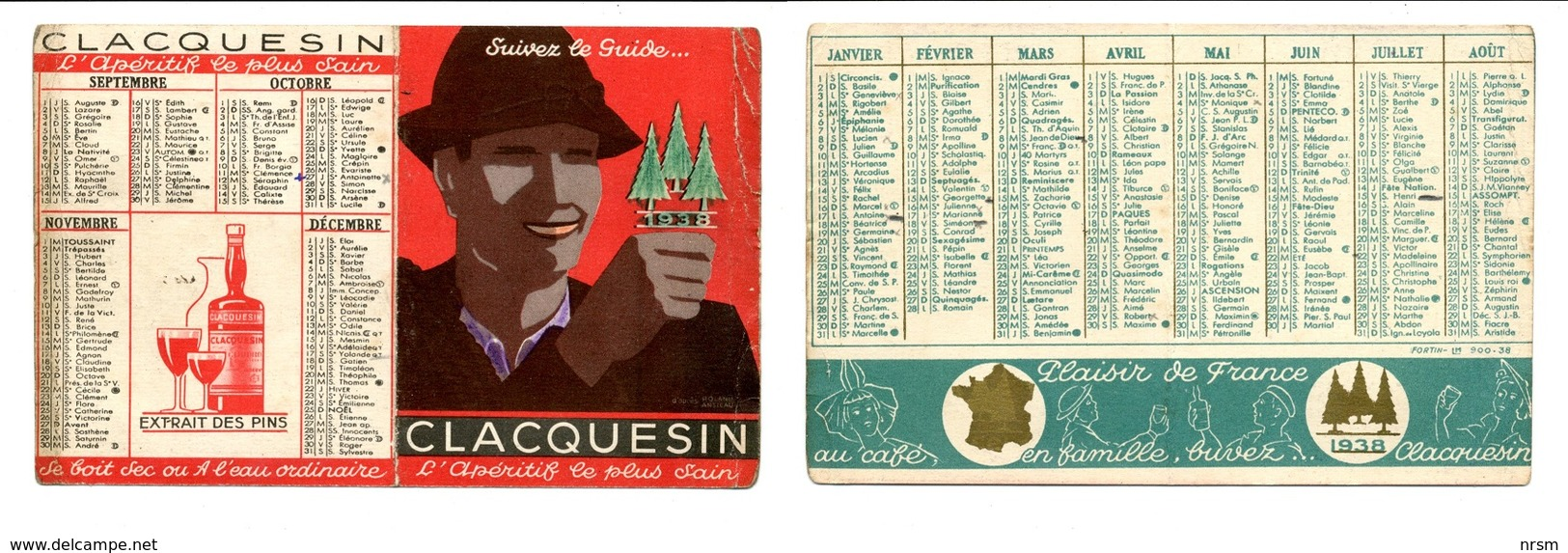 Calendrier 1938 - CLACQUESIN - Kalenders