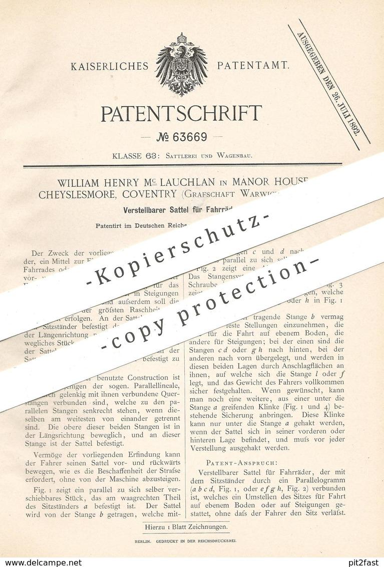 Original Patent - William Henry Mc Lauchlan , Manor House , Cheyslesmore , Conventry , Warwick England   Fahrrad  Sattel - Historische Dokumente