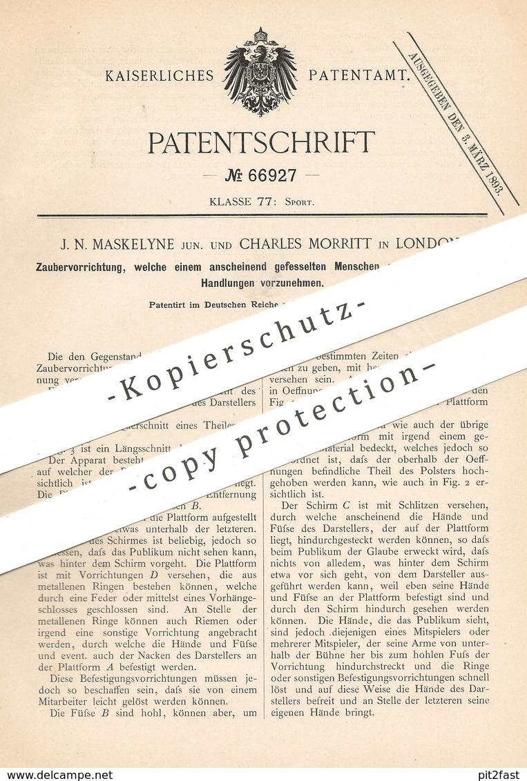 Original Patent - J. N. Maskelyne , Charles Morritt , London , England , 1892 , Zaubern | Zauberer | Magier , Magie !!! - Historische Dokumente