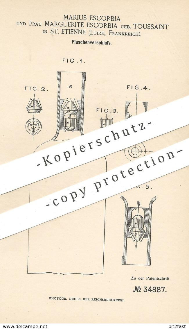 Original Patent - Marius & Marguerite Escorbia Geb. Toussaint , St. Etienne , Loire , Frankreich | Flaschenverschluss !! - Historische Dokumente