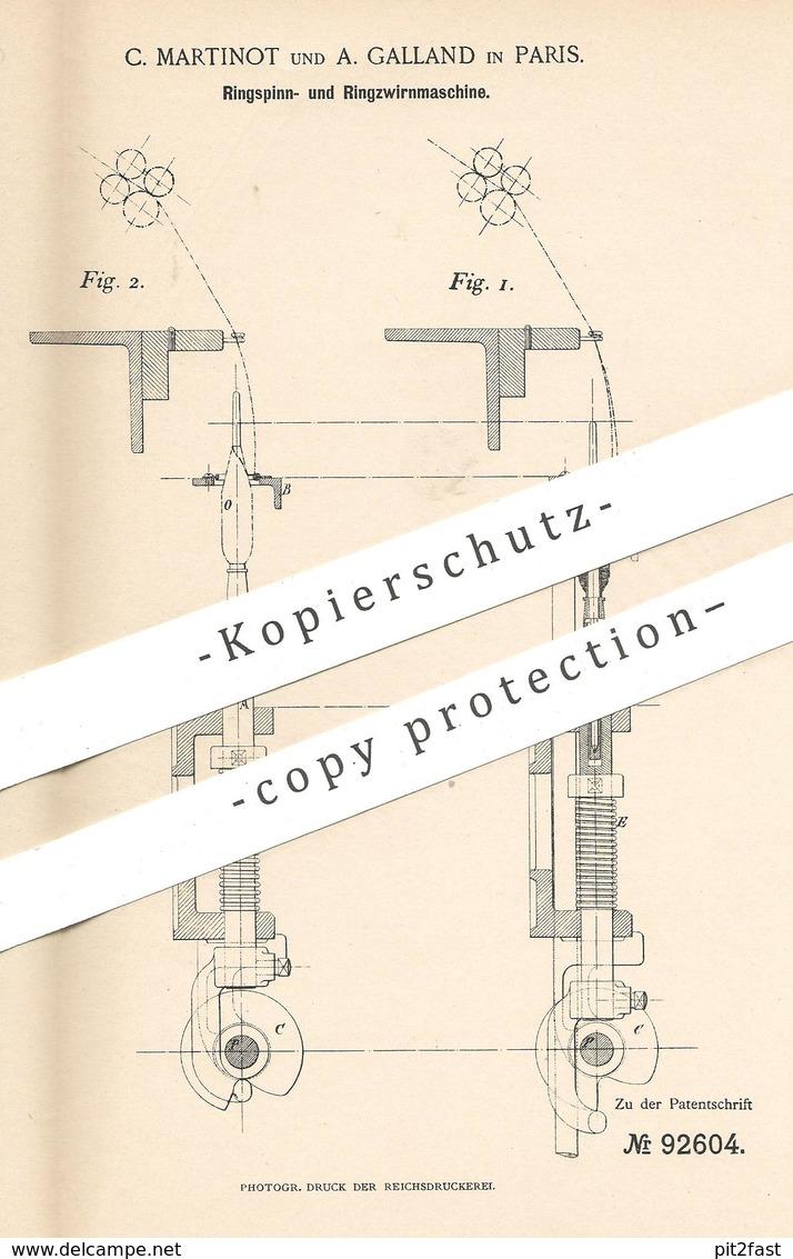 Original Patent - C. Martinot , A. Galland , Paris , Frankreich , 1896 , Ringspinnmaschine & Ringzwirnmaschine   Spinnen - Historische Dokumente
