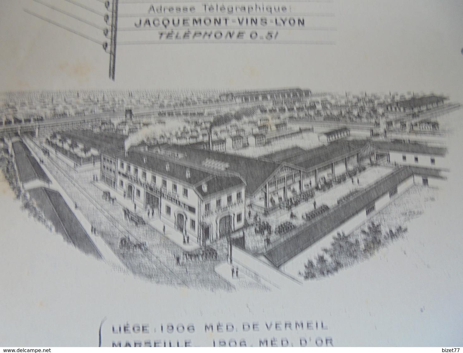 RHONE, LYON PERRACHE, 1909 - VINS, IMMORTEL QUINQUINA : MICHEL JACQUEMONT, 21 RUE D'ALGER - DECO - France