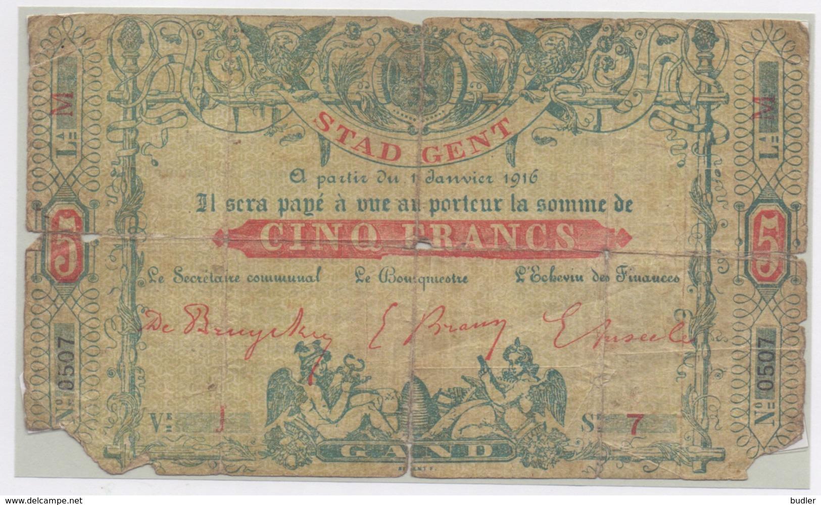 1916: Stad GENT: NOODGELD/ Ville De GAND: Argent De Nécessité. - 5-10-20-25 Francs