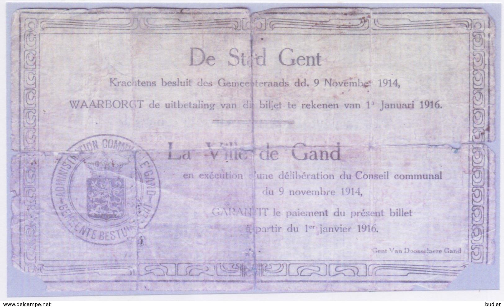 1916: Stad GENT: NOODGELD/ Ville De GAND: Argent De Nécessité. - [ 2] 1831-... : Reino De Bélgica