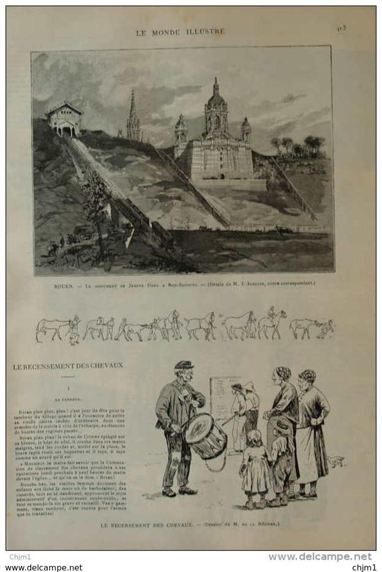 Rouen, Le Monument De Jeanne D'Arc à Bon-Secours - Page Original 1892 - Historical Documents