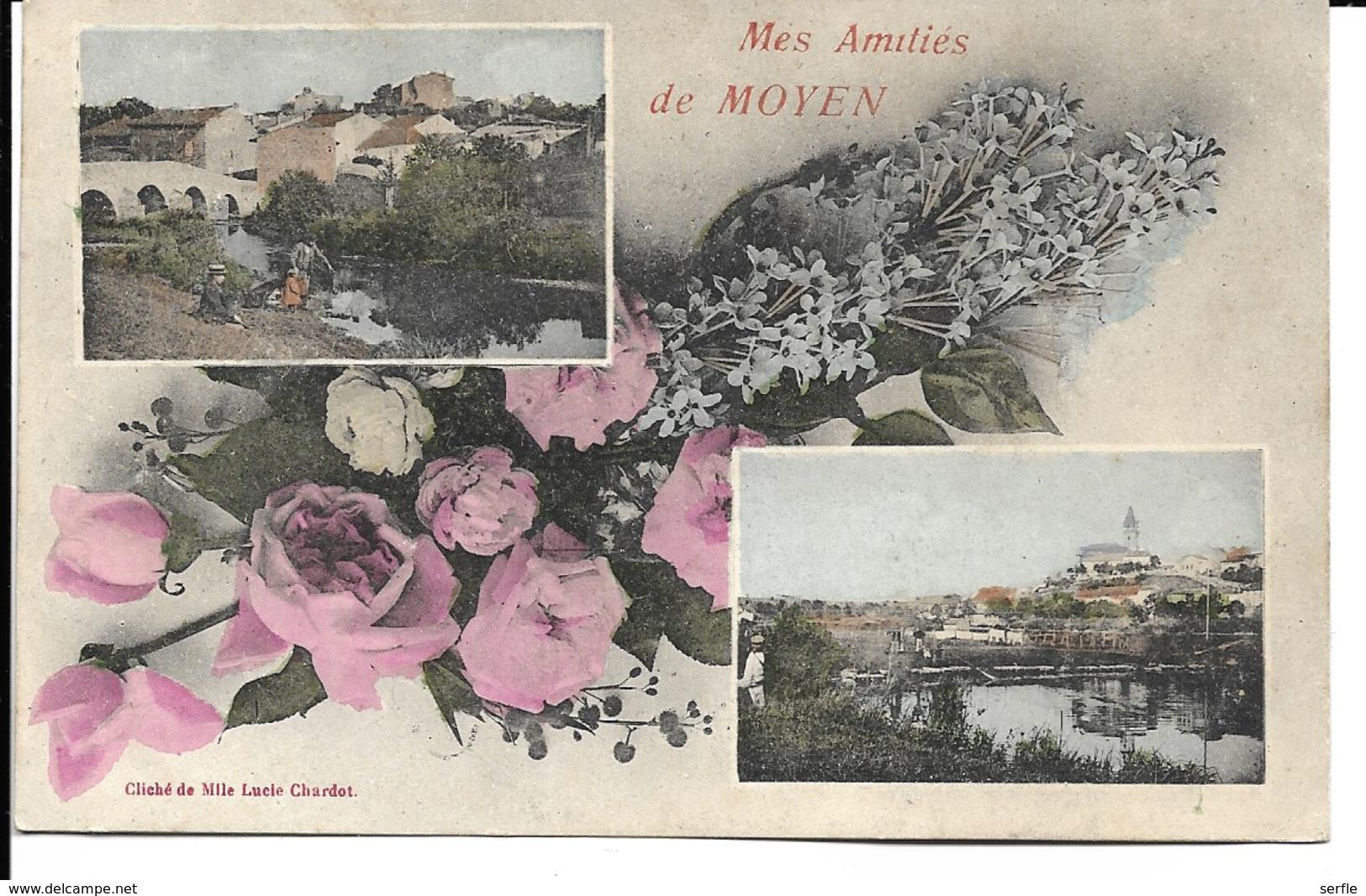 """54 - Moyen - Carte Fantaisie """" Mes Amitiés De Moyen"""" - Francia"""