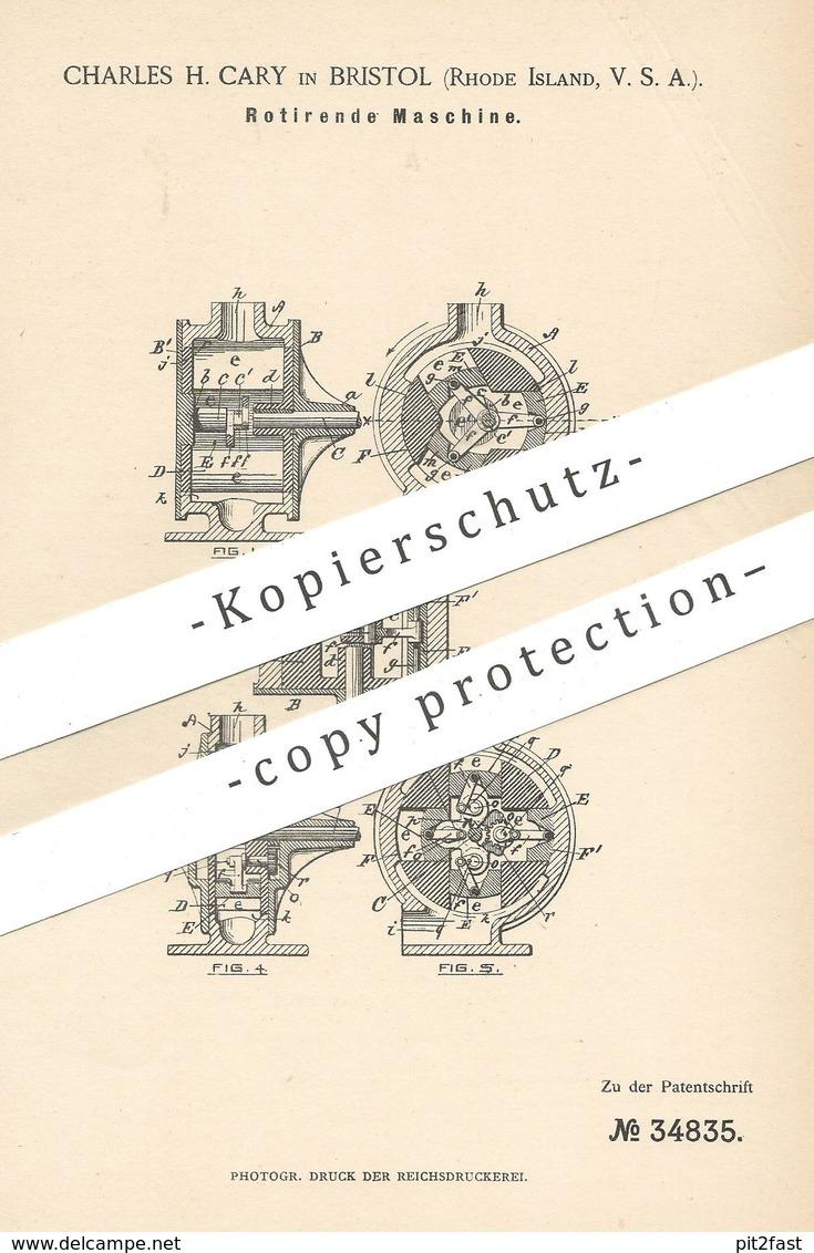 Original Patent - Charles H. Cary , Bristol , Rhode Island , USA  1885 , Rotierende Maschine | Rotation , Pumpe , Pumpen - Historische Dokumente