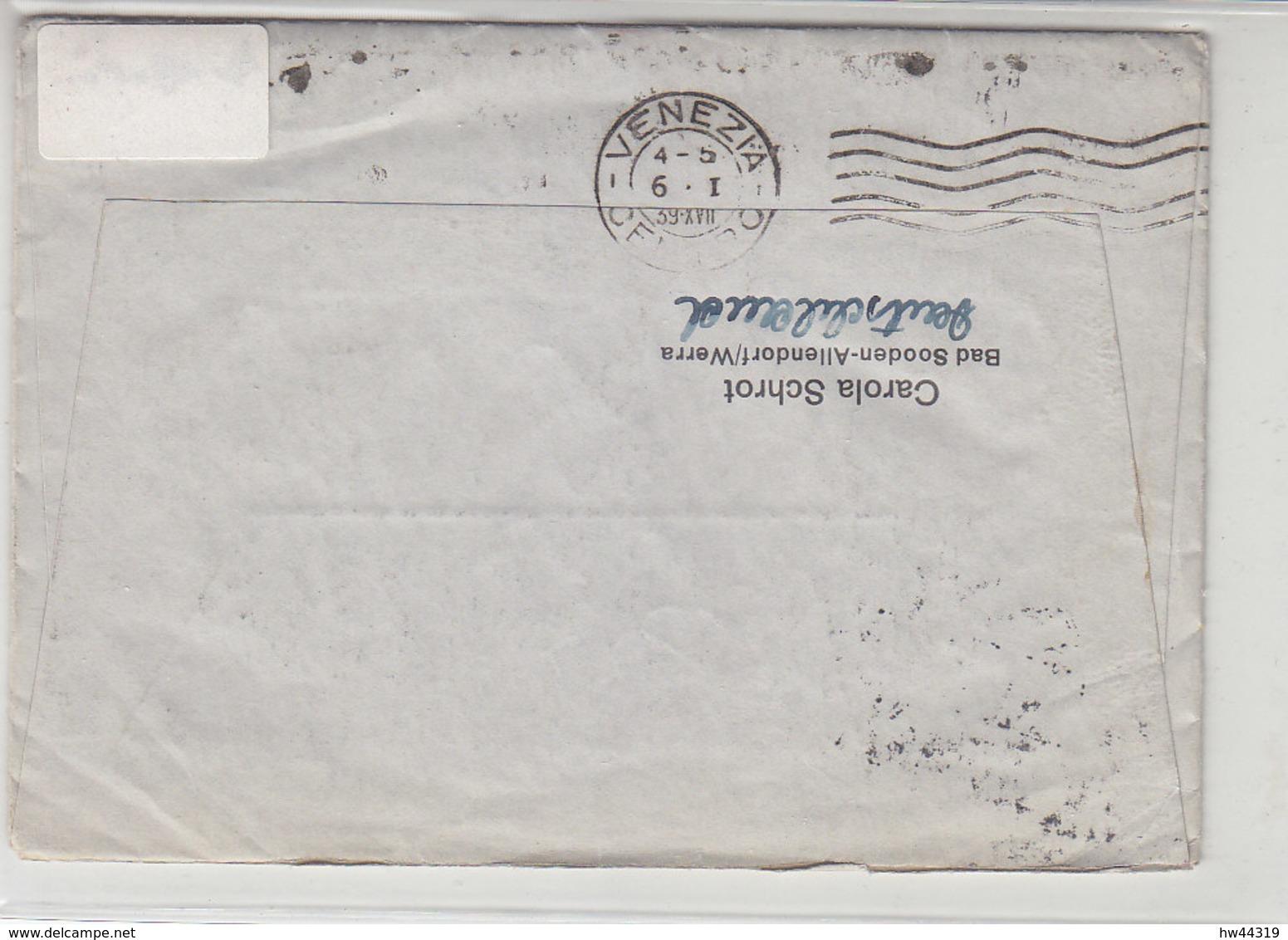 Schiffspost An Urlauber .... WILHELM GUSTLOFF Aus BAD SOODEN ALLENDORF 4.1.39 Mit Inhalt / AK-Stempel Venezia - Briefe U. Dokumente