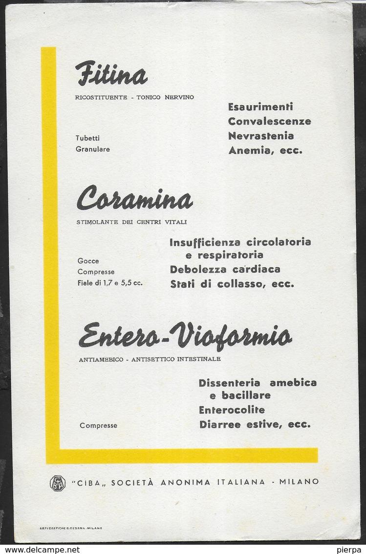 PUBBLICITA' FARMACI CIBA - FITINA CORAMINA ENTERO-VIOFORMIO -  SU CARTA ASSORBENTE NUOVA - 14,50X 22 - Carte Assorbenti