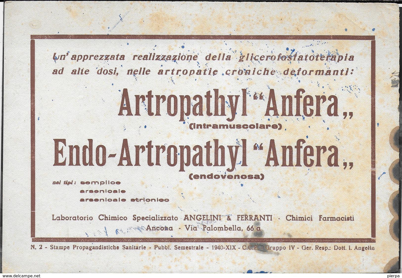 PUBBLICITA' FARMACI ANGELINI & FERRANTI - ARTROPATHYL ANFERA- ENDO-ARTROPATHYL -  SU CARTA ASSORBENTE USATA - 20,50X14 - Carte Assorbenti