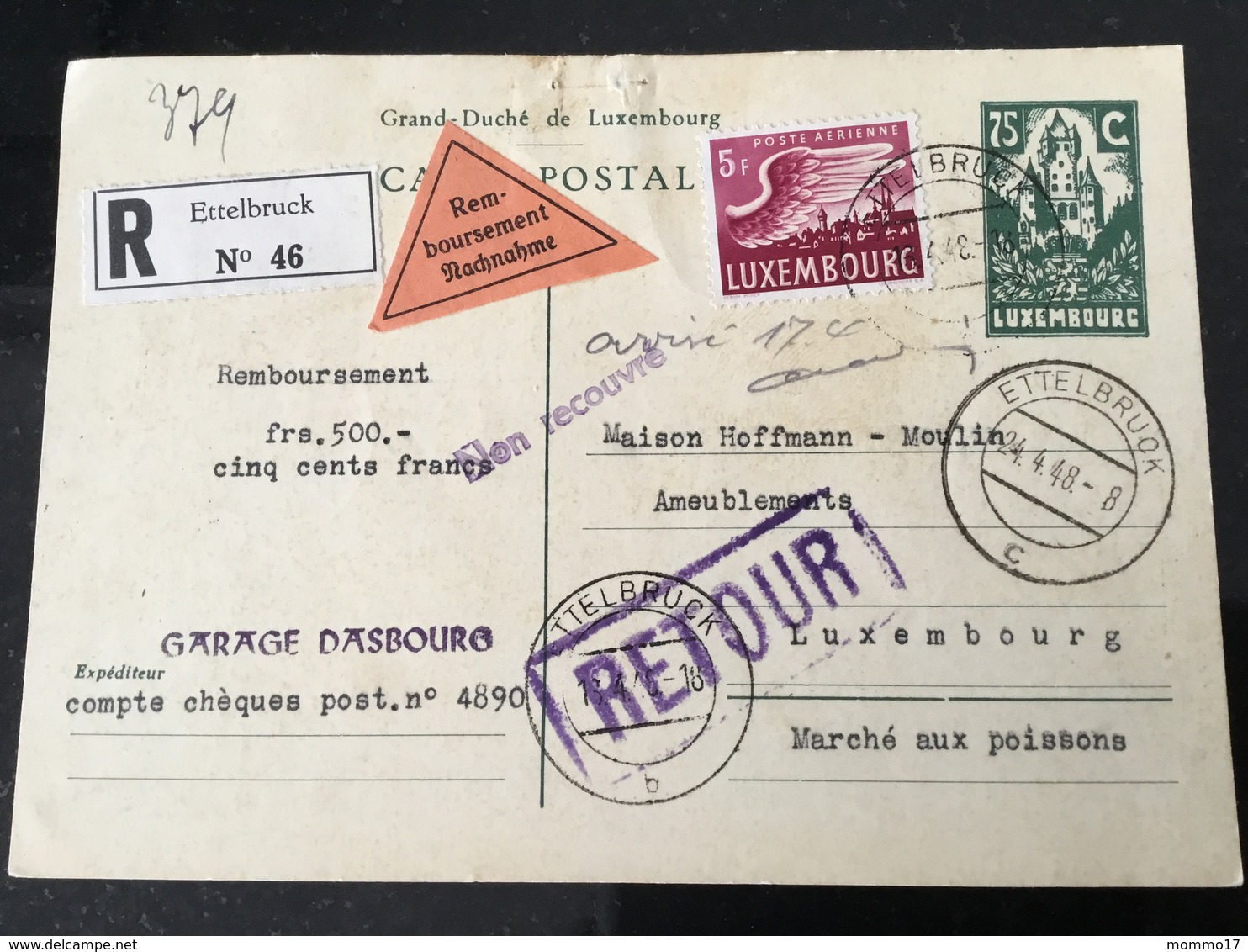 Luxembourg Carte Remboursement Retour Ettelbruck - Ganzsachen