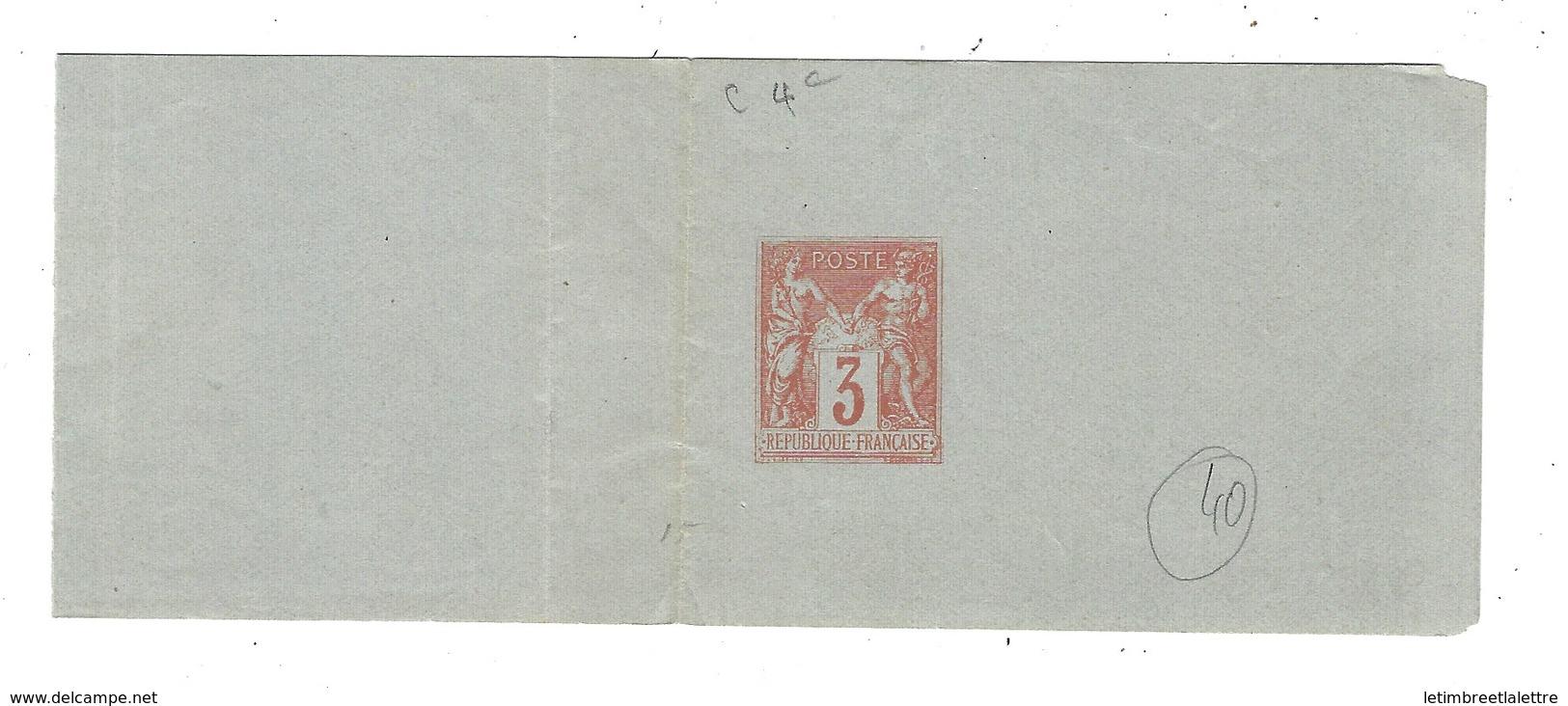 France, Entier Postal, Bande Privée T.S.C, C4 ( 4c ) Papier Bleu - Entiers Postaux