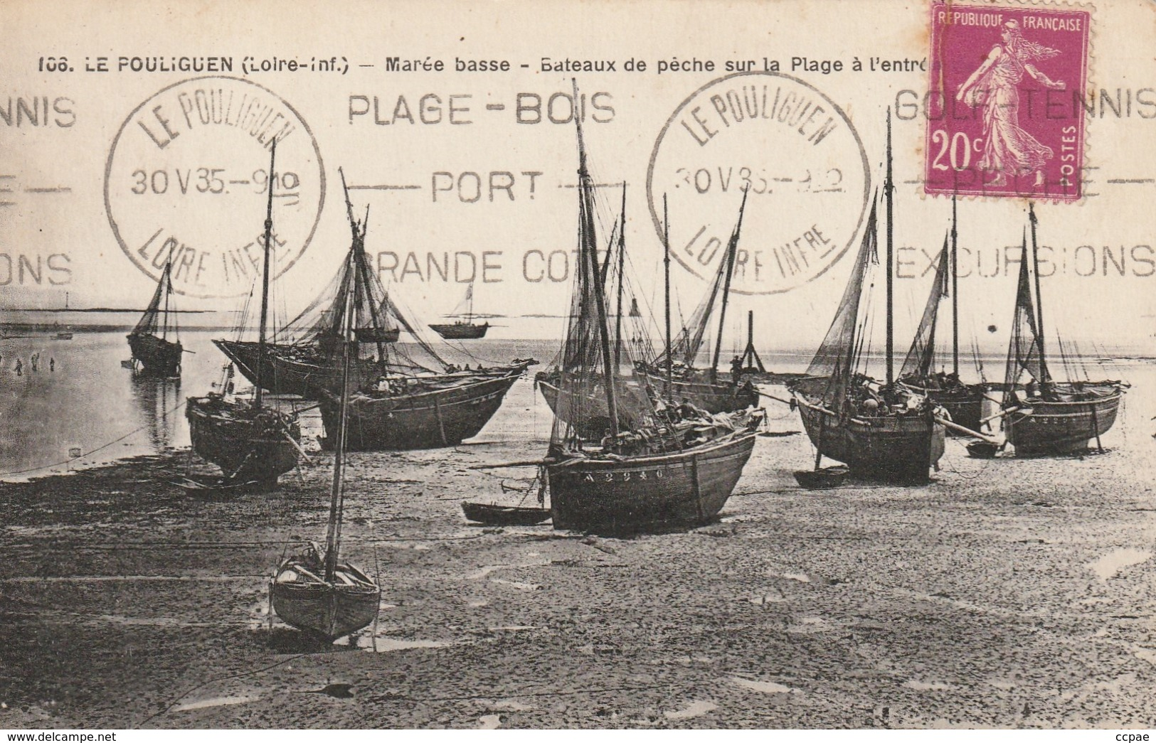 Marée Basse - Bateaux De Pêche Sur La Plage à L'entrée ... - Le Pouliguen