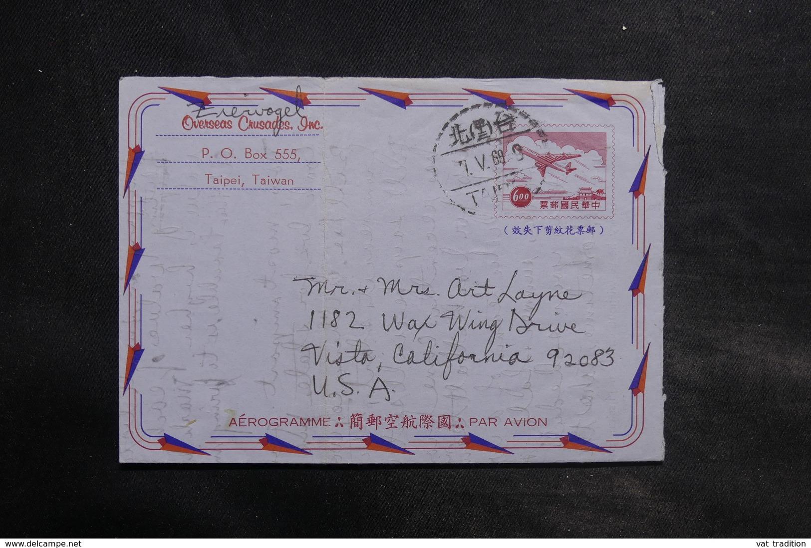 TAIWAN - Aérogramme De Taipei Pour Les Etats Unis En 1968 - L 34817 - 1945-... République De Chine
