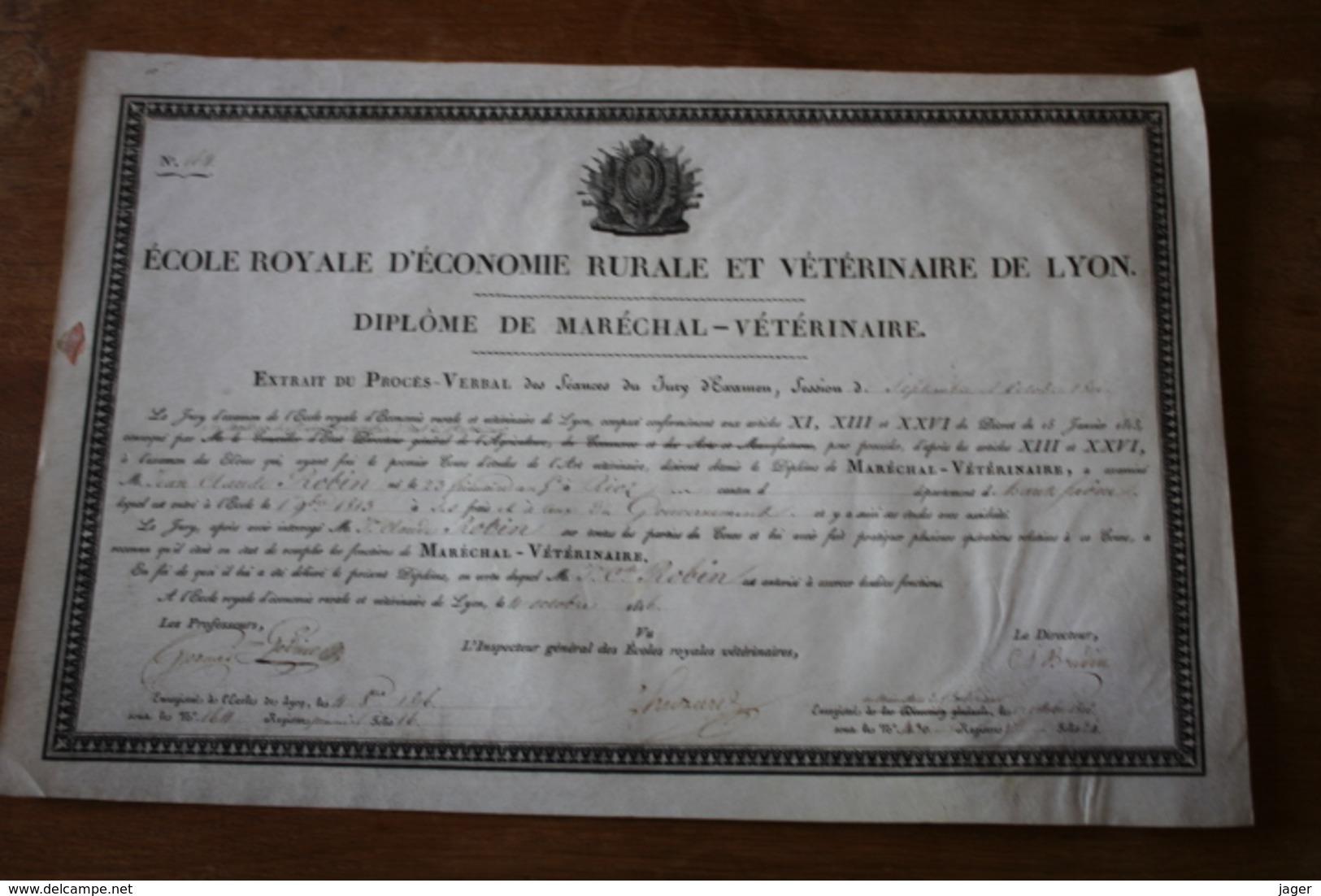 Diplome Sur Velin 1816  Ecole Royale D'economie Rurale Et Vétérinaire De LYON - Documentos Históricos
