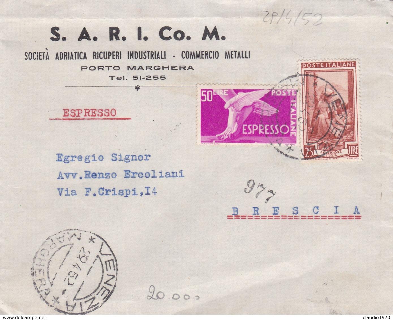BUSTA VIAGGIATA - VENEZIA - PORTO MARGHERA - SOCIETA' ADRIATICA RICUPERI INDUSTRIALI - COMMERCIO - VIAGGIATA PER BRESCIA - 6. 1946-.. Repubblica