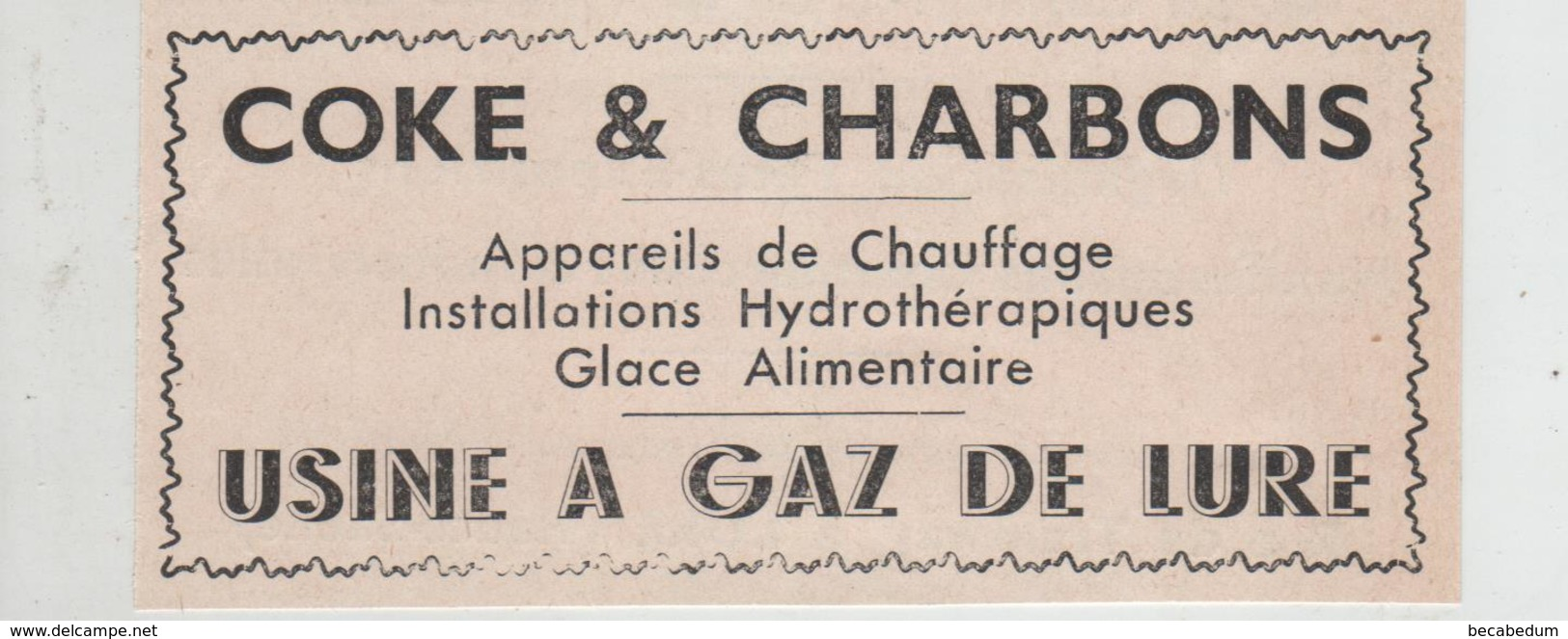 Publicité 1937 Coke Et Charbons Usine à Gaz De Lure - Werbung