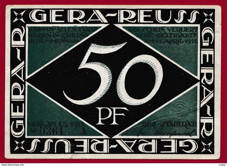 Allemagne 1 Notgeld 50 Pfenning Stadt Gera-Reuss (RARE )  Dans L 'état   Lot N °4178 - Collections