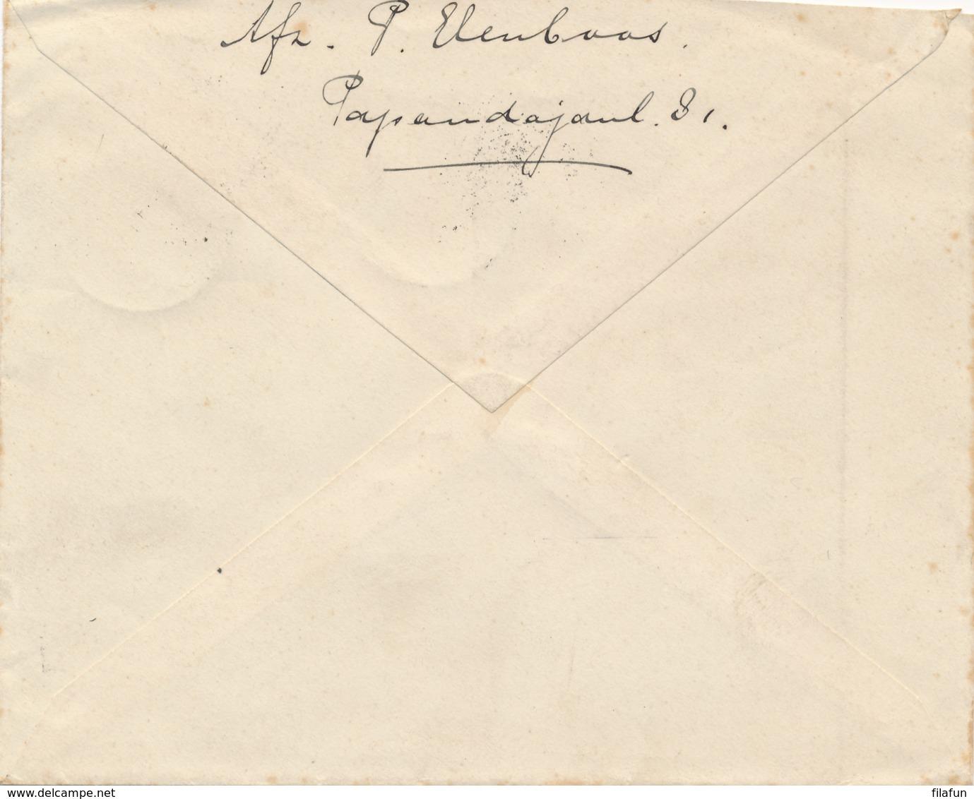 Nederlands Indië - 1929 - 12,5 Cent Wilhelmina, Envelop Van LB BANDOENG TJIKOEDAPATEUH Naar Gorsel - Gele PTT-strook - Nederlands-Indië