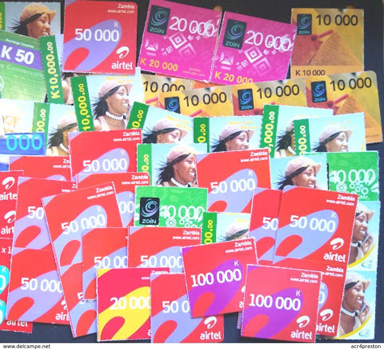 Tc063 ZAMBIA, Small Lot Of Used Phonecards, Zamtel, Zain, Airtel - Zambia