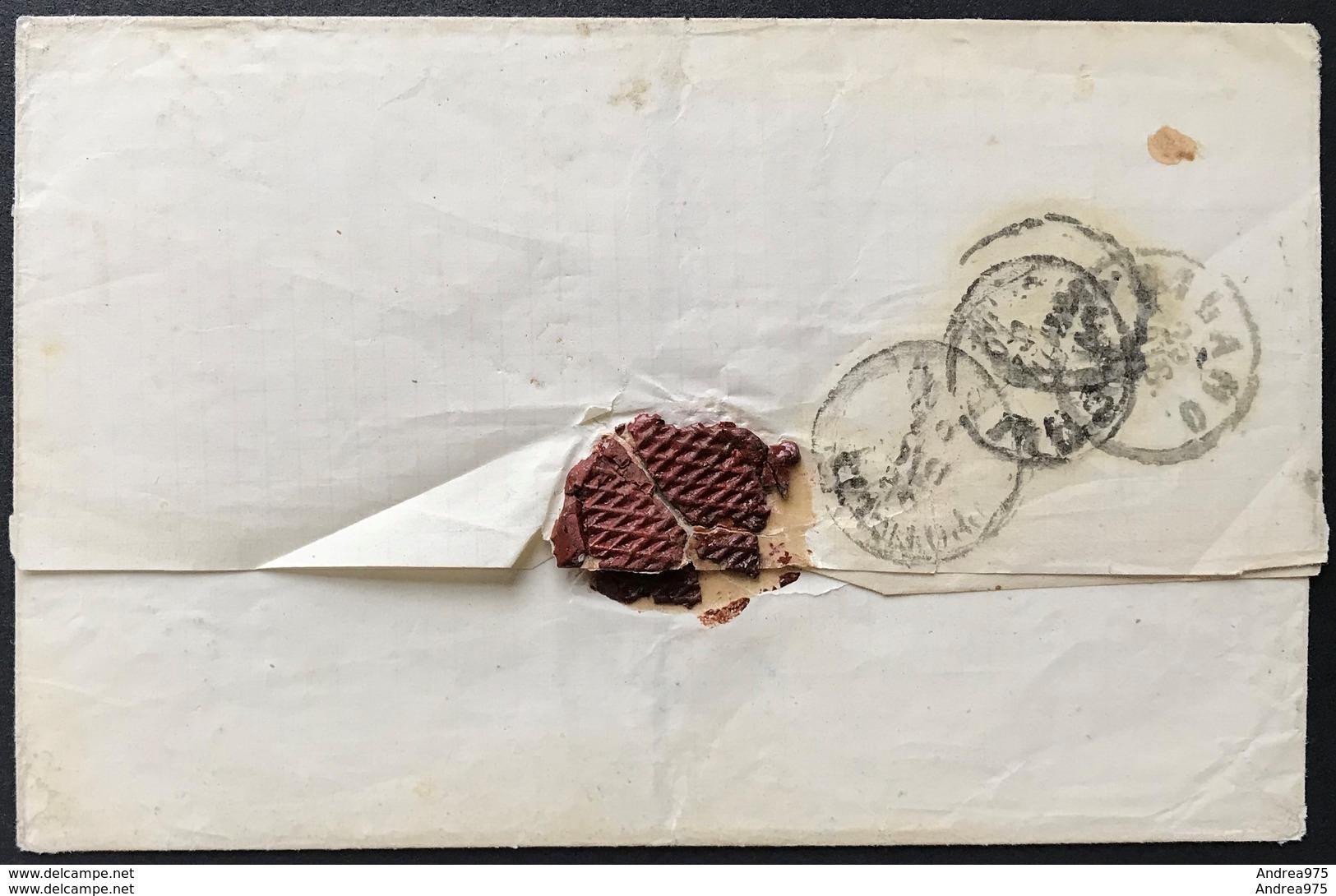 15 Cent DLR Coppia Su Coperta Annullo Melfi Doppio Cerchio 19/12/1864 A Milano, Sassone P6 - 1861-78 Victor Emmanuel II