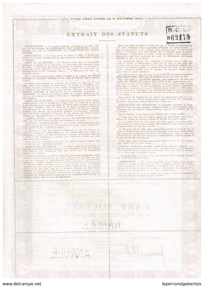 Titre Ancien - Compagnie Des Compteurs Et Manomètres - Société Anonyme - Titre De 1952 - - Industrie