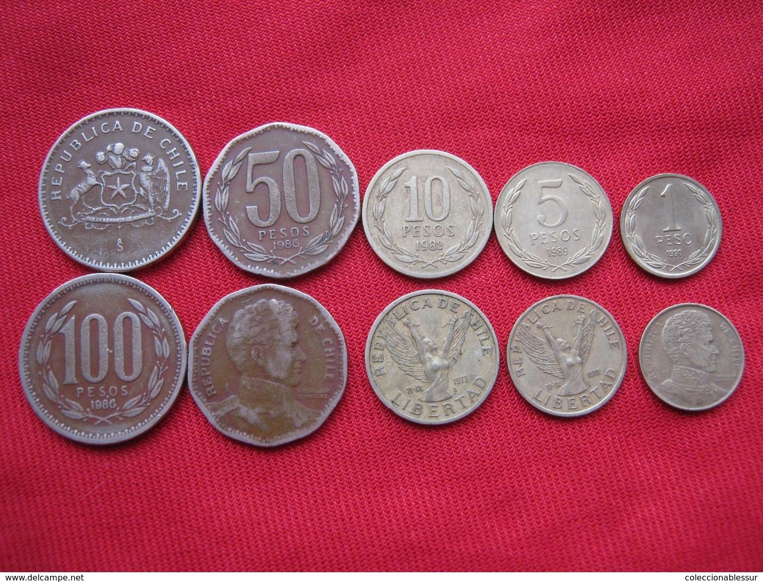 Chile Lote 5 Monedas Diferentes KM 216,217,218,219,226 - Chile