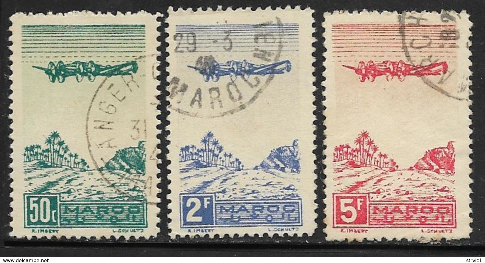 French Morocco Scott #C27-9 Used Plane Over Oasis , 1944 - Marocco (1891-1956)