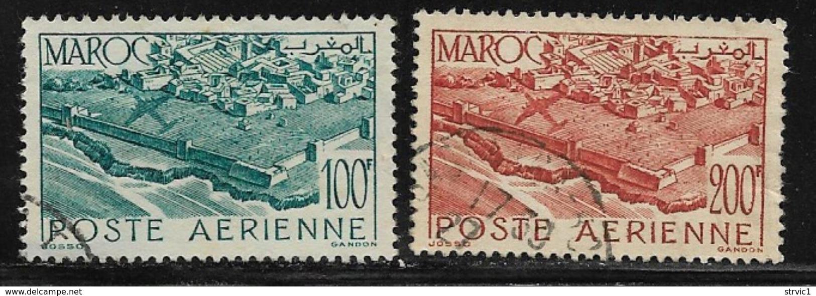 French Morocco Scott #C37-8 Used Plane Over La Medina , 1948 - Marocco (1891-1956)
