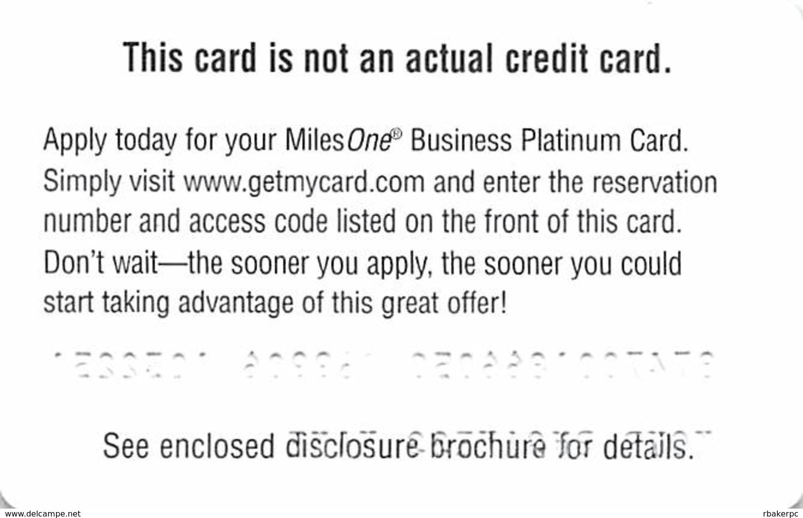 CapitalOne MilesOne Business Platinum Sample Card (blank Reverse) With 04PL001373 - Cartes De Crédit (expiration Min. 10 Ans)