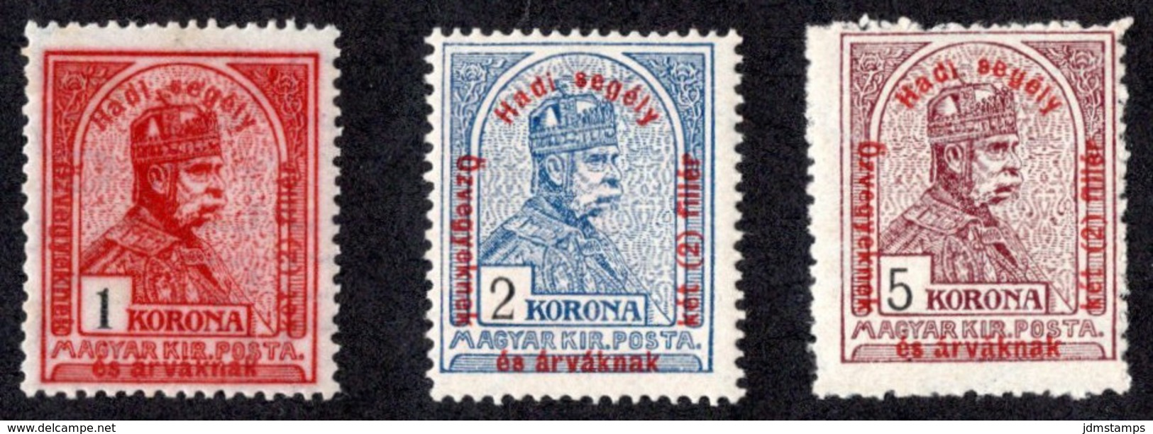 HUN SC #B49-51 MNH 1915 S-P/Franz Josef I W/surchg CV $13.60 (H) - Unused Stamps