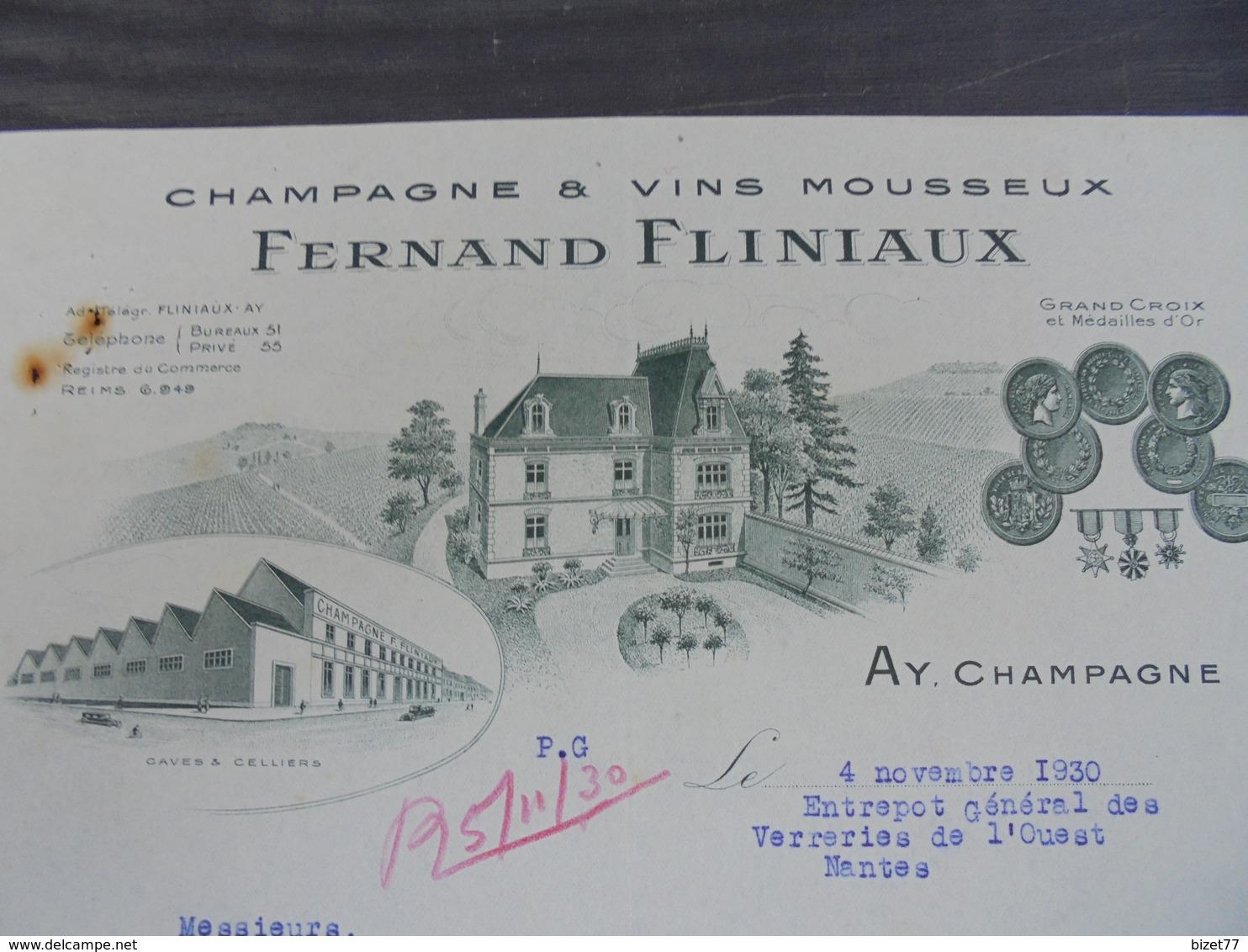 MARNE, AY, 1930 - CHAMPAGNE ET VINS MOUSSEUX : FERNAND FLINIAUX - BELLE DECO - Unclassified