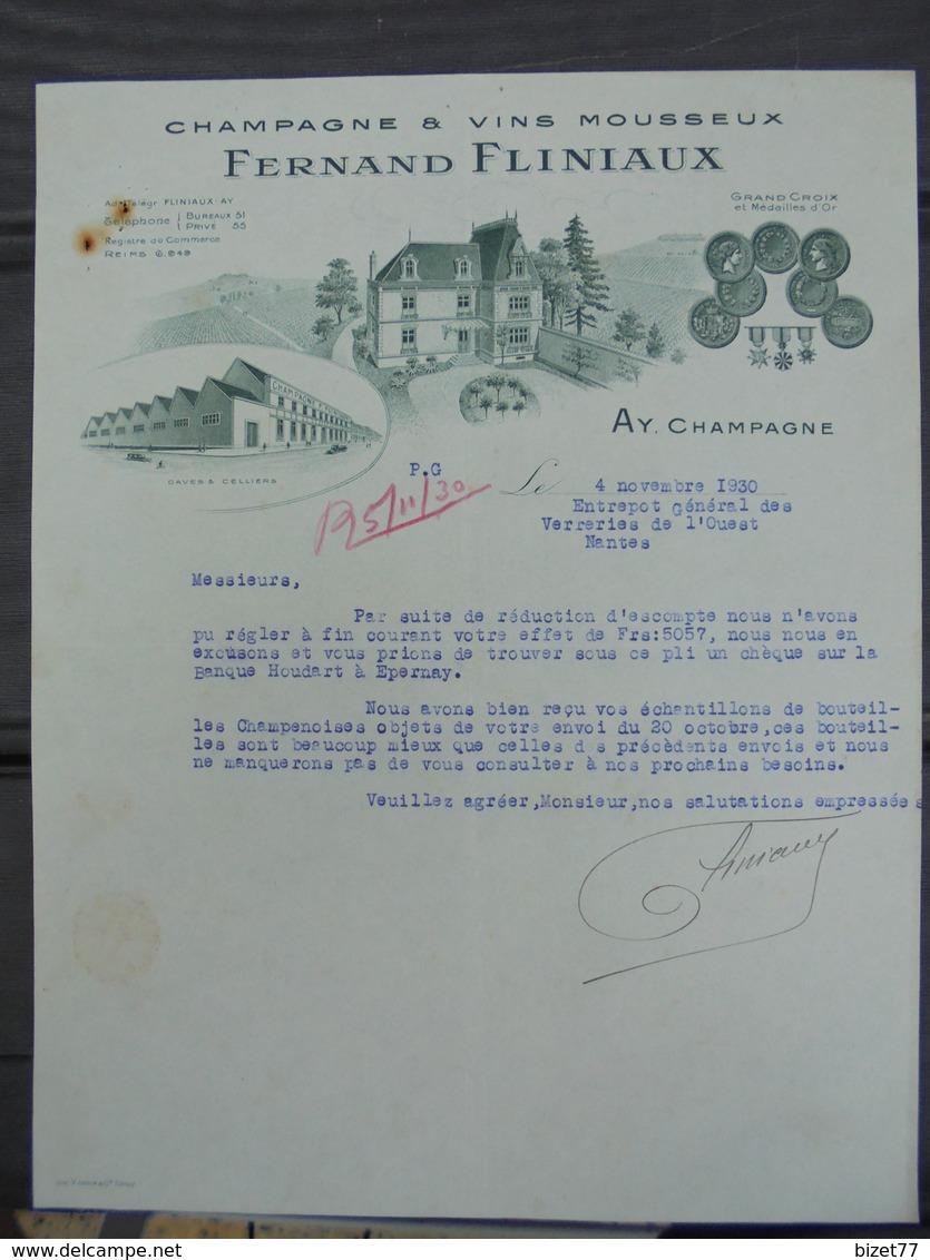 MARNE, AY, 1930 - CHAMPAGNE ET VINS MOUSSEUX : FERNAND FLINIAUX - BELLE DECO - Frankreich