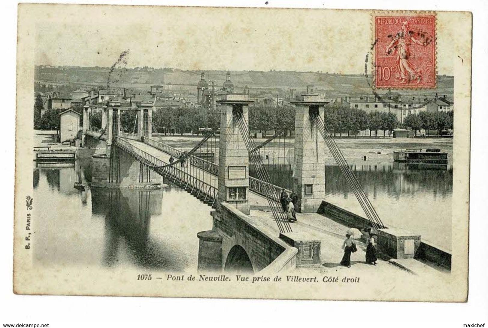Pont De Neuville - Vue Prise De Villevert - Côté Droit - Circulé 1905 - Neuville Sur Saone