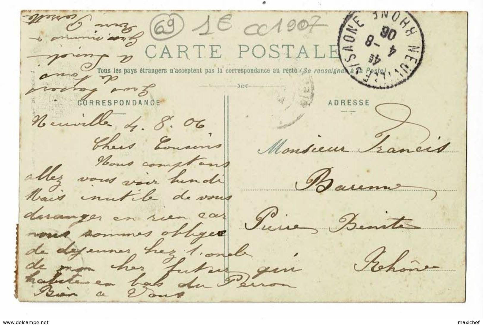 Neuville Sur Saône - Château Du Parc (animation Sur Le Perron) Circulé 1906 - Neuville Sur Saone