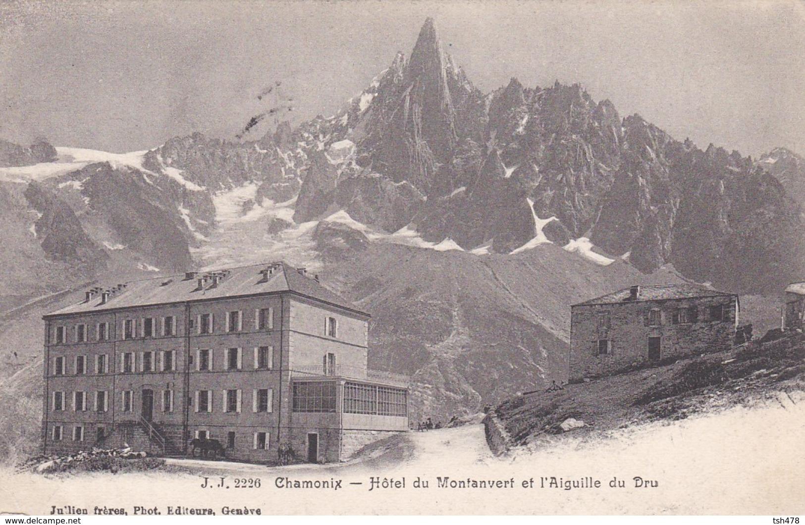 74----CHAMONIX--hôtel Du Montanvert Et L'aiguille Du Dru--( Tampon De Hôtel MER DE GLACE )--voir 2 Scans - Chamonix-Mont-Blanc