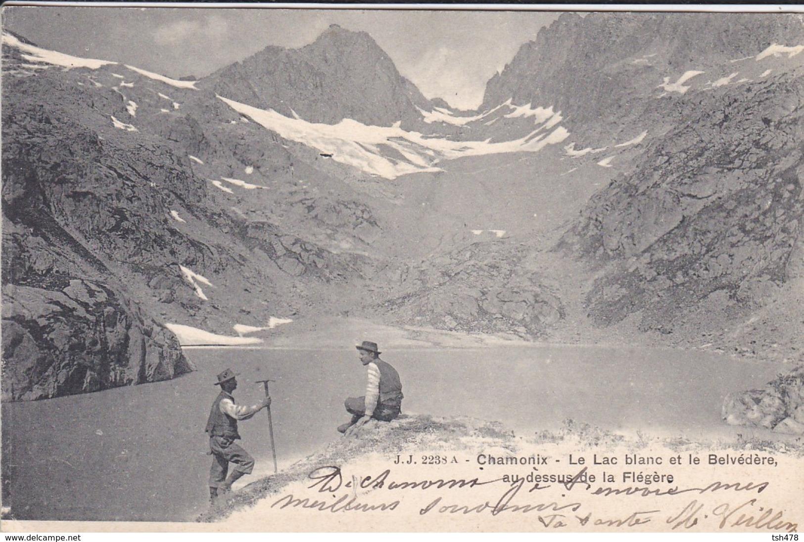 74----CHAMONIX---le Lac Blanc Et Le Belvédère Au Dessus De La Flégère--voir 2 Scans - Chamonix-Mont-Blanc
