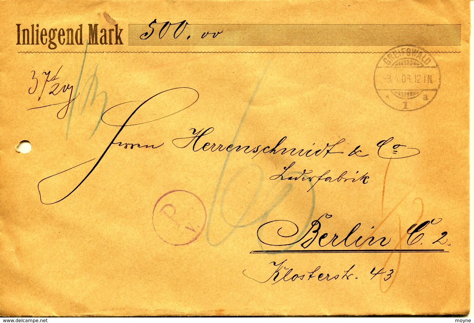 42  Allemagne - GREIFSWALD  à BERLIN   - ENVELOPPE RECOMMANDEE CHARGEE  500 Marcs  - 37,2 Grs -1906 - Deutschland