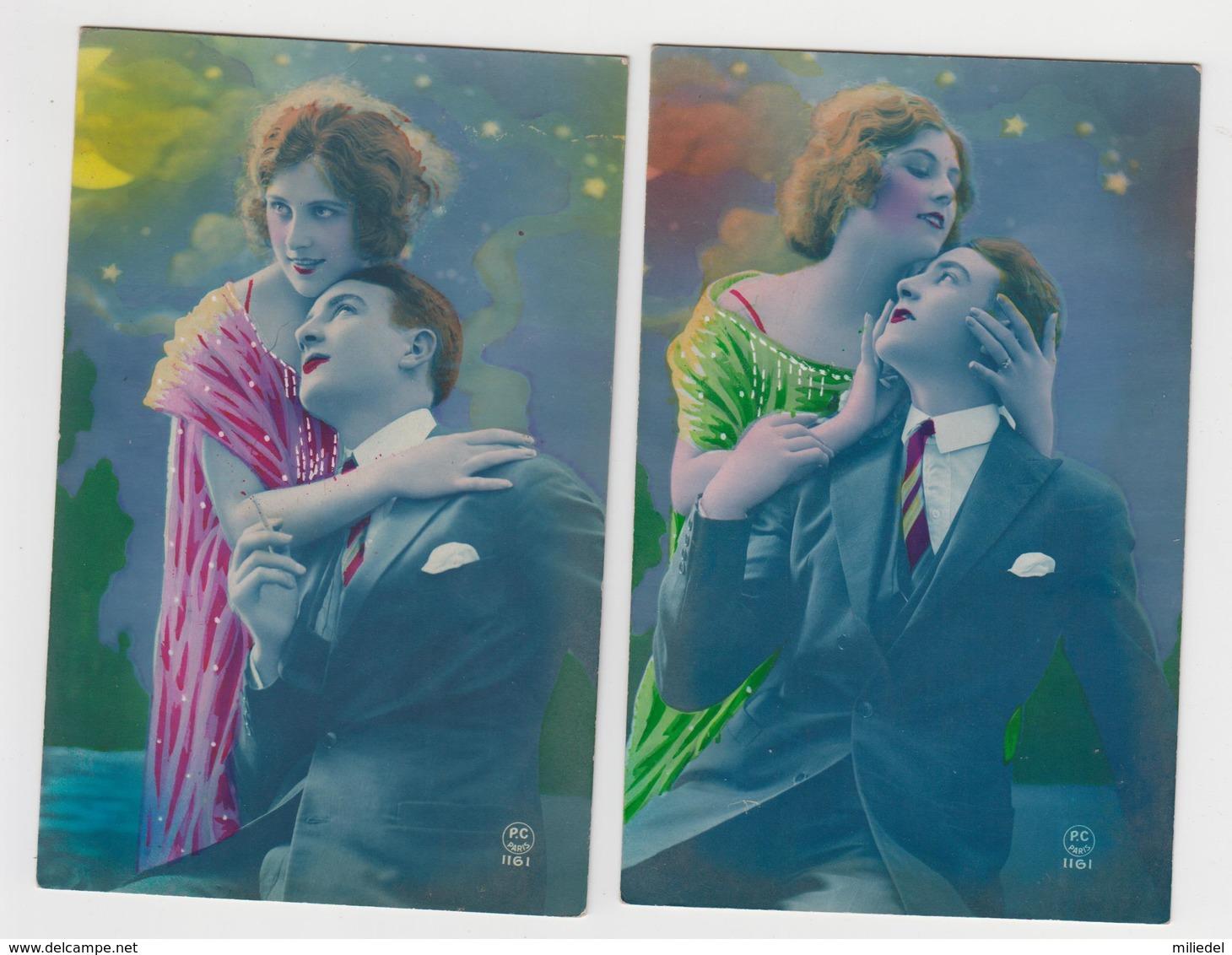 MF450 - LOT 2 Cartes - COUPLE - Style ART NOUVEAU - Fond Bleu Nuit - P.C . PARIS - Couples