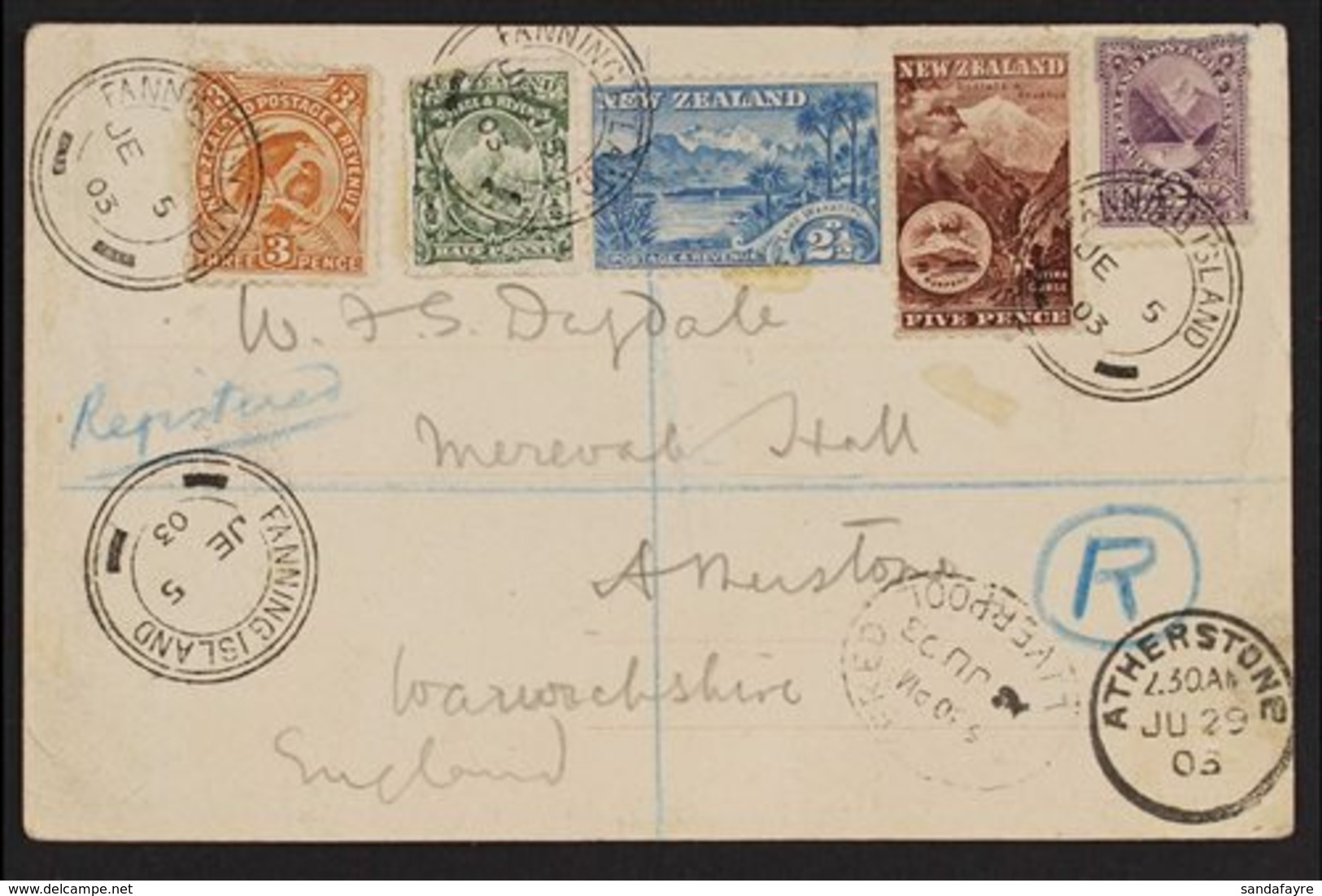 FANNING ISLAND 1903 Registered Picture Postcard, Franked With New Zealand ½d, 2d, 2½d, 3d & 5d Pictorials, Addressed To  - Gilbert & Ellice Islands (...-1979)