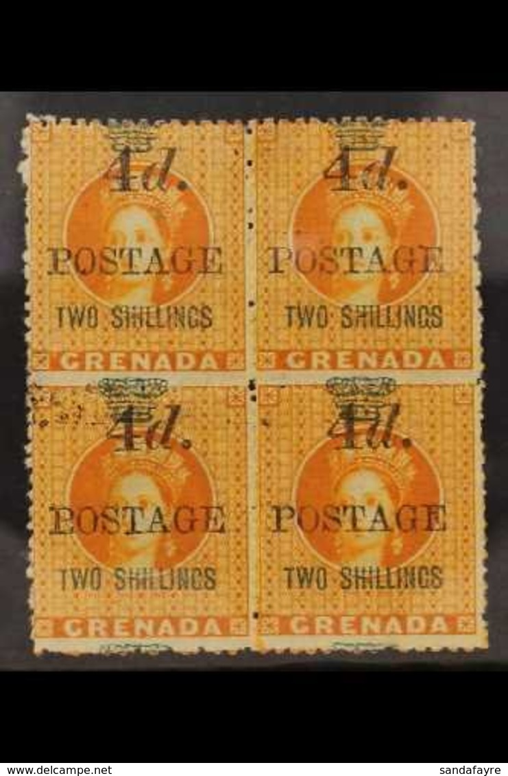 """1888-92 4d On 2s Orange Surcharge 5mm Spacing, SG 42, Superb Mint BLOCK Of 4, The Lower Left Stamp Showing Dropped """"T"""" O - Grenada (...-1974)"""