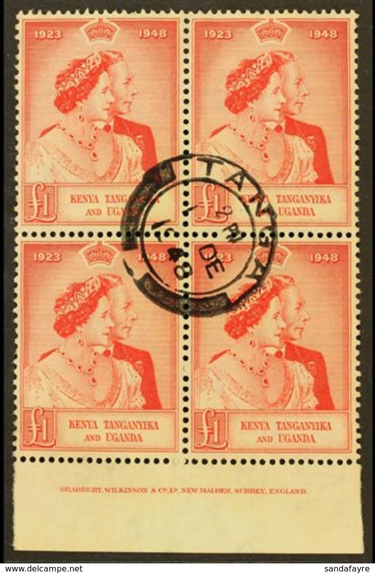 1948 £1 Scarlet Royal Silver Wedding, SG 158, Marginal Imprint BLOCK OF FOUR With Fine Central Cds Cancel. For More Imag - Publishers