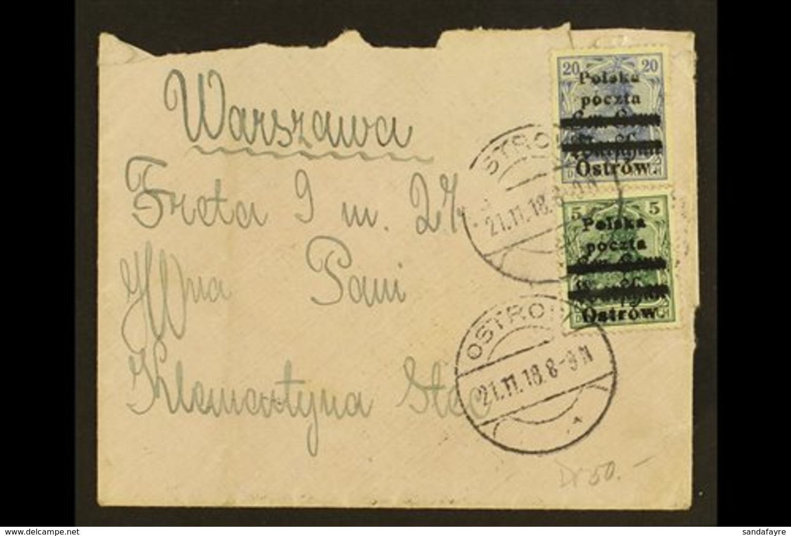 LOCAL ISSUE OSTROW 1918 (21 Nov) Cover Addressed To Warsaw Bearing 5pf Green & 20pf Blue With Local Overprints Type B -  - Poland