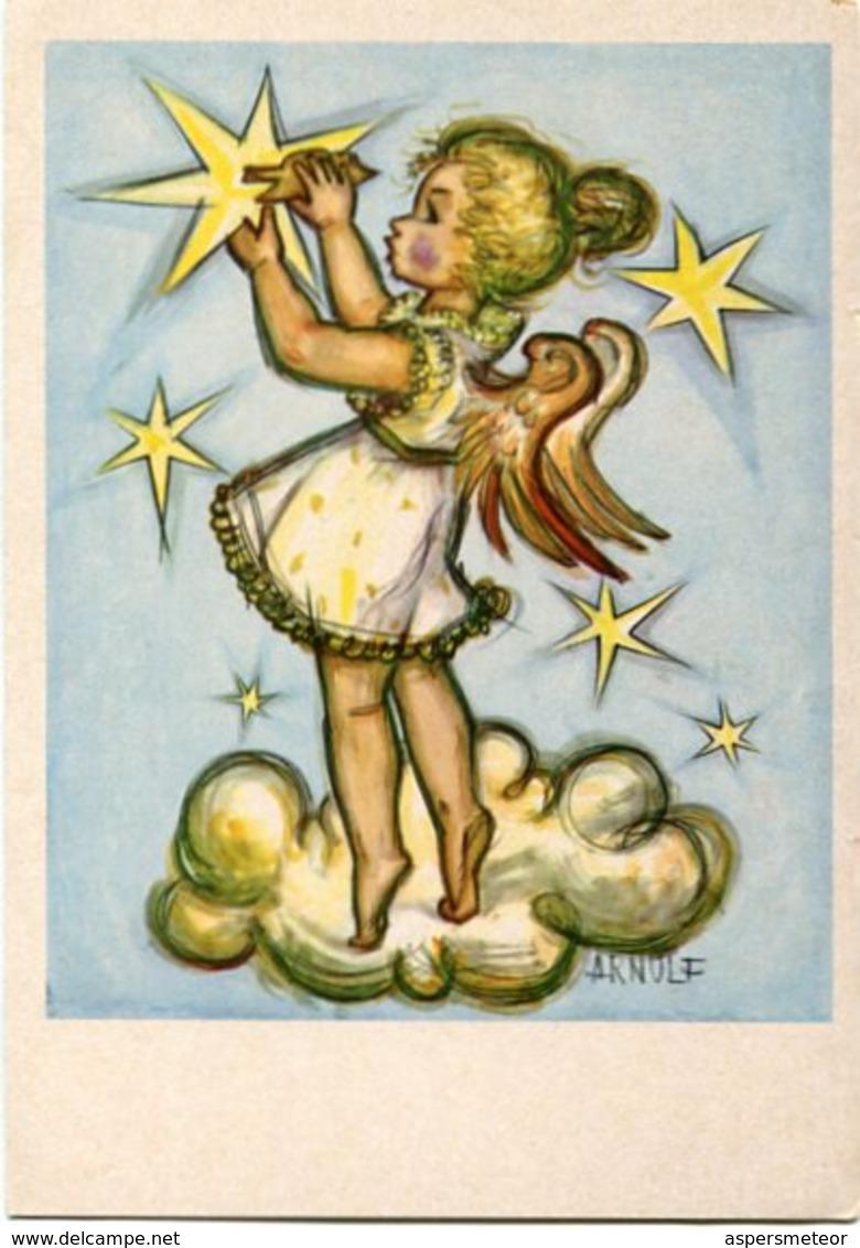 """""""LUSTRA ESTRELLA"""" A. E. STEGMANN, PINTOR SIN MANOS. TARJETA DE NAVIDAD CHRISTMAS CARD CIRCA 1965 - LILHU - Navidad"""