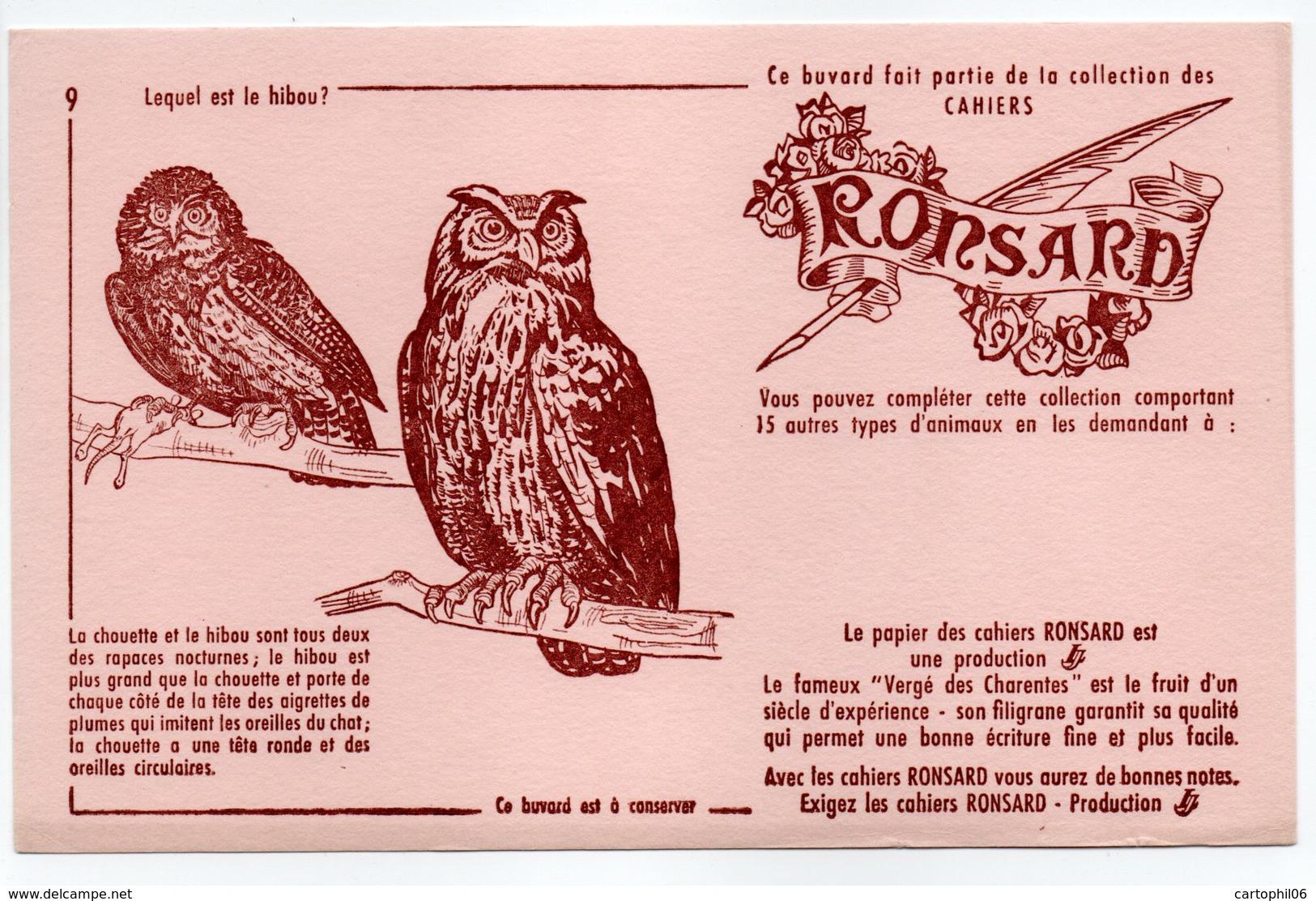 - BUVARD CAHIERS RONSARD - Lequel Est Le Hibou ? - - Stationeries (flat Articles)