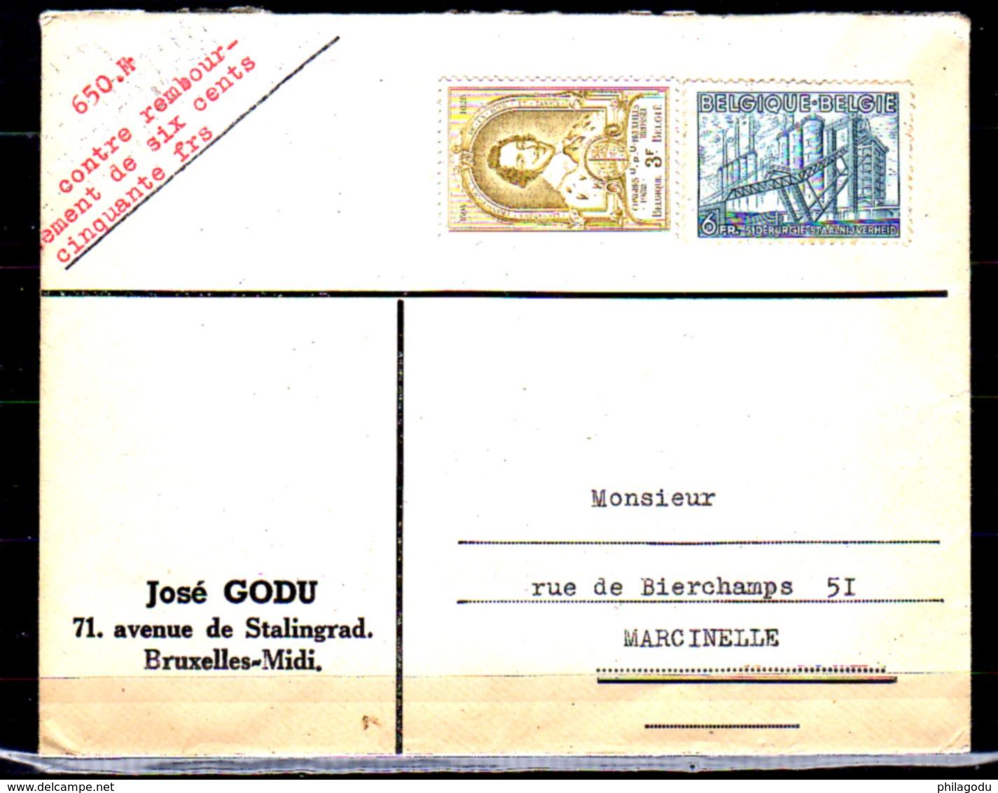Belgique 1952, Léonard II, Exportation Sidérurgie Sur Lettre Bruxelles-Marcinelle - Belgique