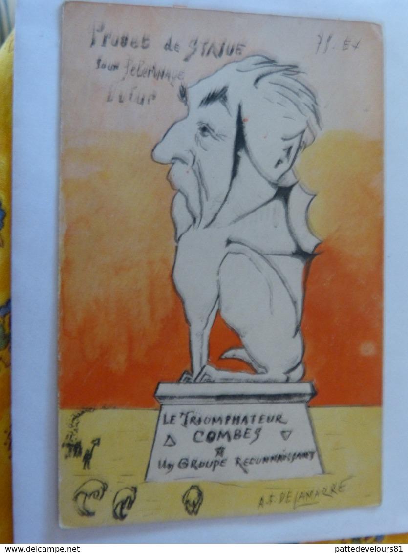 CPA Caricature Satirique Politique COMBES Projet Statue Pélerinage Franc-Maçon Illustrateur A.F. DE LAMARRE (2 Scans) - Satiriques