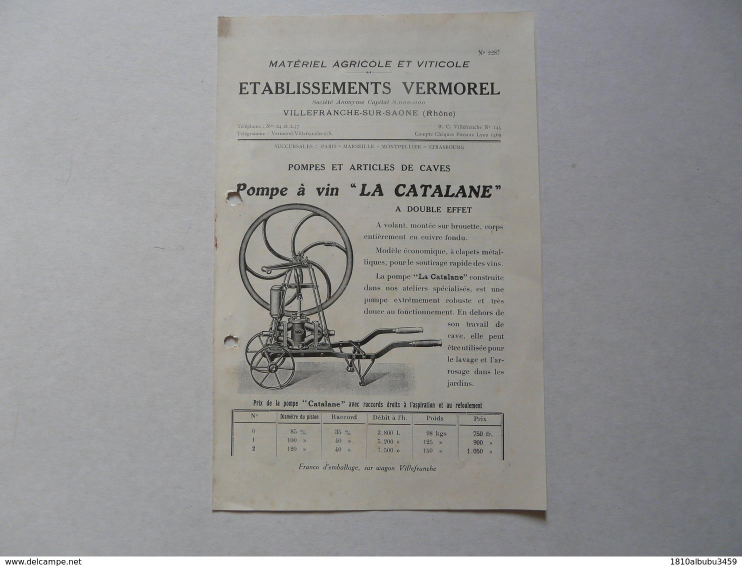 """VIEUX .PAPIERS - PUBLICITE (catalogue) : VERMOREL - Villefranche Sur Saône - Pompe à Vin """"La Catalane"""" - Publicidad"""