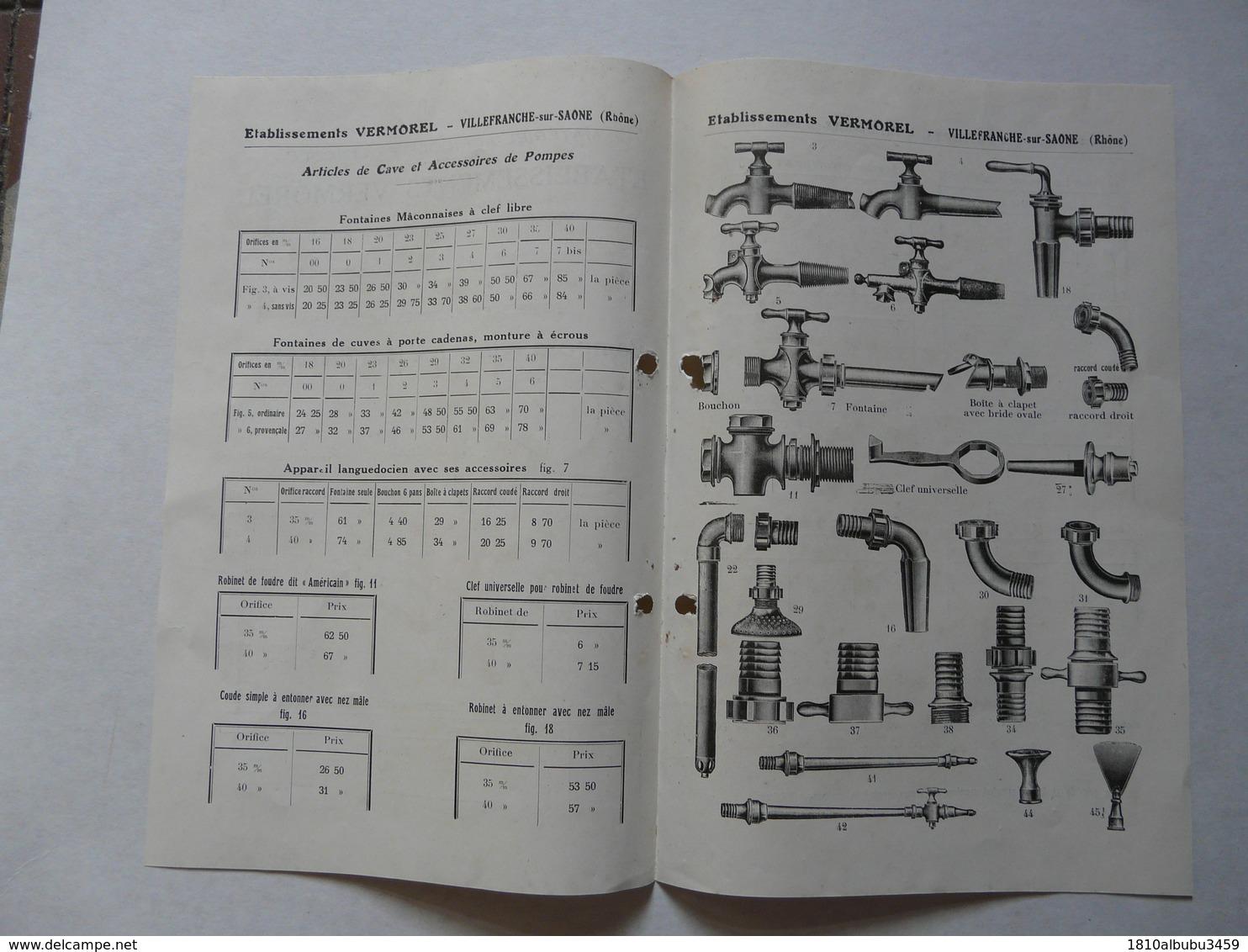 """VIEUX .PAPIERS - PUBLICITE (catalogue) : VERMOREL - Villefranche Sur Saône - Pompe à Vin """"La Catalane"""" - Reclame"""